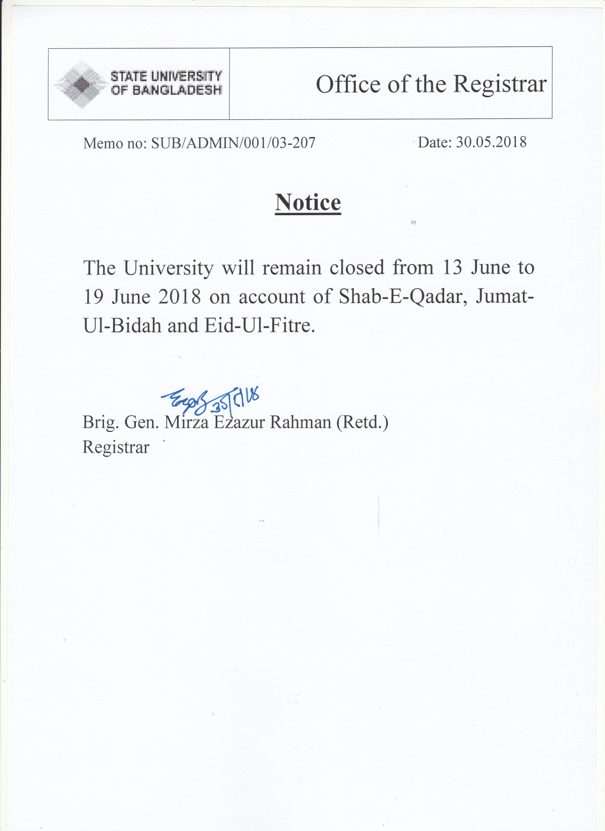 Eid Vacation Notice – Welcome to State University of Bangladesh